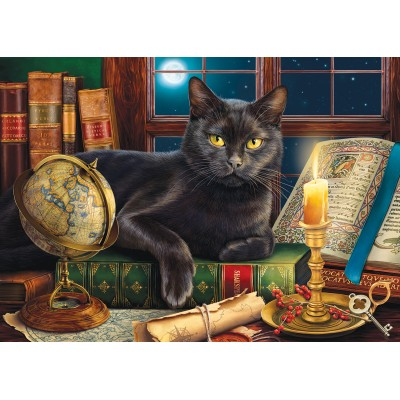 Puzzle Sunsout-42906 XXL Teile - Black Cat by Candlelight