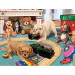 Puzzle  Sunsout-60905 XXL Teile - Steve Read - Puppies Playtime