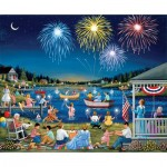 Puzzle  Sunsout-61342 Sheila Lee - Lakeside on the Fourth of July