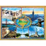 Puzzle  Sunsout-71628 Adrian Chesterman - The 7 Manmade Wonders of the U.S.A.