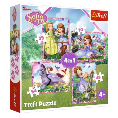 Trefl-34314 4 Puzzles - Sofia The First