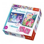 Trefl-90601 2 Puzzles + Memo - My Little Pony