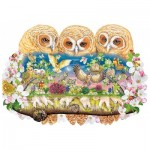 Wentworth-840106 Holzpuzzle - Owlets in The Moonlight