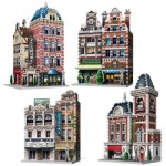 Wrebbit-Set-Urbania-2 3D Puzzle - Urbania Collection - Café, Cinema, Hotel, Feuerwehrhaus